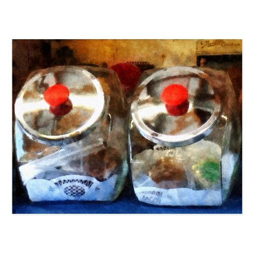 Two Glass Cookie Jars Postcard