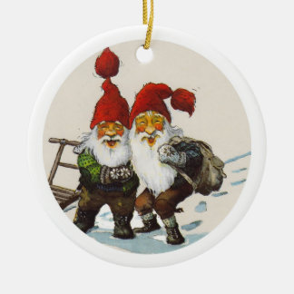 Two Gnome Friends Round Ceramic Decoration