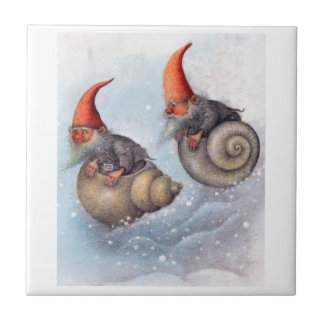 TWO GNOMES SNOWBOARDING ON SNAIL SHELLS SMALL SQUARE TILE