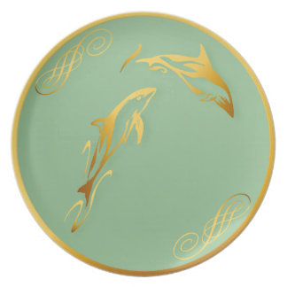 Two Gold Dolphins Plates