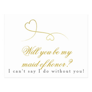 Two Gold Hearts | Be my Maid of Honor Wedding Postcard