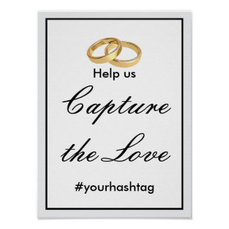 Two Gold Rings Wedding Hashtag Sign Poster