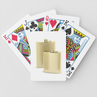 Two golden hip flasks bicycle playing cards