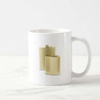 Two golden hip flasks coffee mug