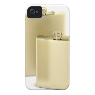 Two golden hip flasks iPhone 4 case