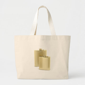Two golden hip flasks large tote bag