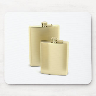 Two golden hip flasks mouse pad