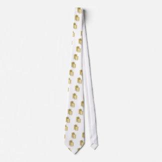 Two golden hip flasks tie
