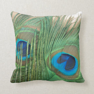 Two Golden Peacock Feathers Still Life Throw Cushion