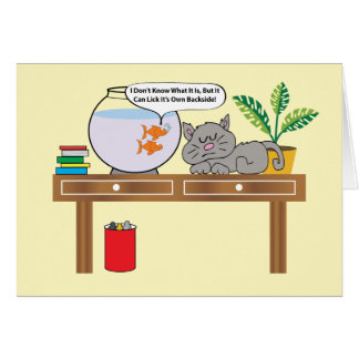 Two Goldfish And A Cat Birthday Card