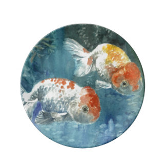 Two Goldfish,frends,blue,yellow,red. Porcelain Plates