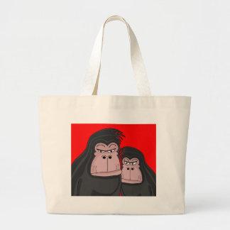 Two gorillas large tote bag