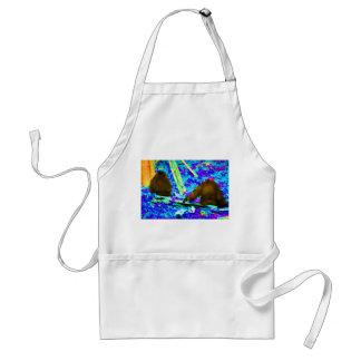 two gorillas sitting backs bright colored blobs standard apron