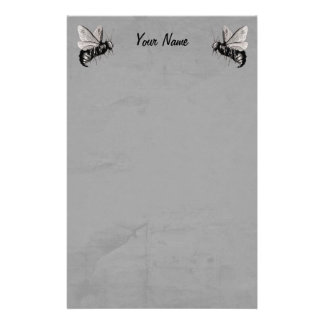 Two Gothic Bee Illustrations with Skull Wings Stationery