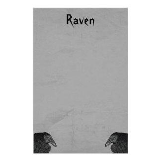 Two Gothic Type Black Raven Illustrations on Gray Customised Stationery