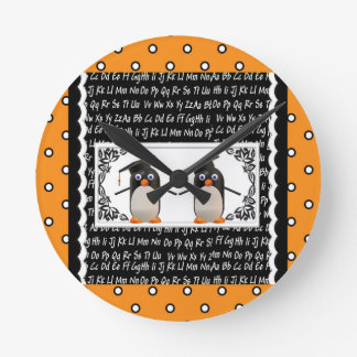 Two Graduating Penguins, ABC Scalloped Background Round Clock