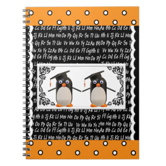 Two Graduating Penguins, ABC Scalloped Background Spiral Notebook