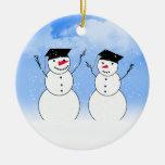 Two Graduating Snowmen Christmas Ornaments