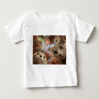 Two Gray Cats in Space Before a Nebula Baby T-Shirt