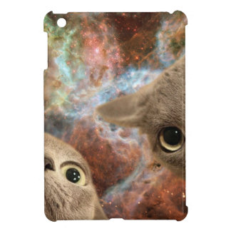 Two Gray Cats in Space Before a Nebula iPad Mini Covers