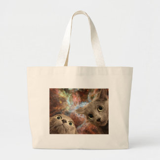 Two Gray Cats in Space Before a Nebula Large Tote Bag