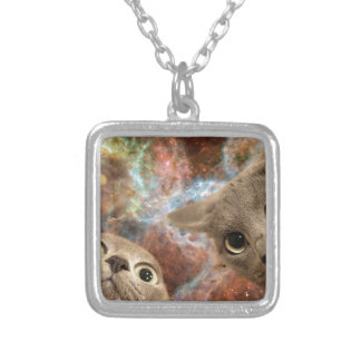 Two Gray Cats in Space Before a Nebula Silver Plated Necklace