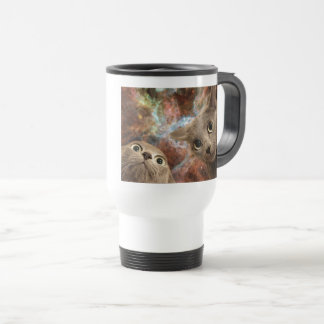 Two Gray Cats in Space Before a Nebula Travel Mug