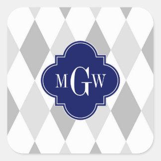 Two Gray Wht Harlequin Navy 3 Initial Monogram Square Sticker