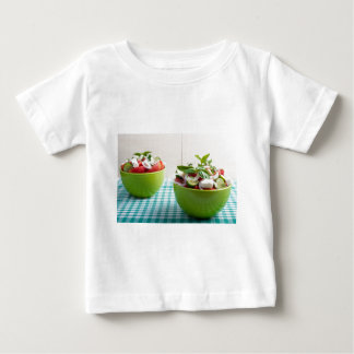 Two green bowl with vegetable vegetarian salad baby T-Shirt