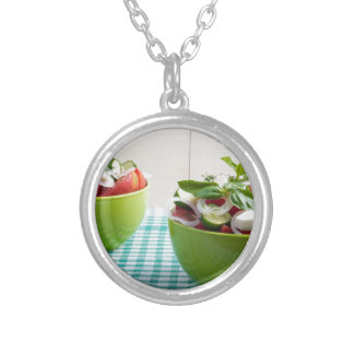 Two green bowl with vegetable vegetarian salad silver plated necklace