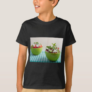 Two green bowl with vegetable vegetarian salad T-Shirt