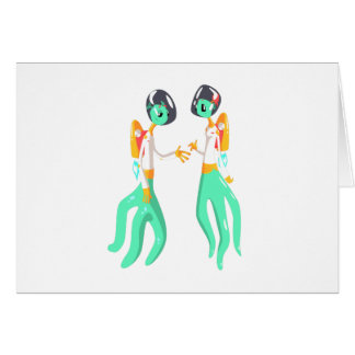 Two Green Extraterrestrial Beings In Space Suits Card