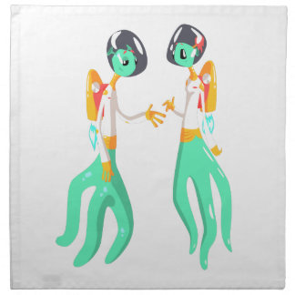 Two Green Extraterrestrial Beings In Space Suits Napkin