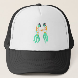 Two Green Extraterrestrial Beings In Space Suits Trucker Hat