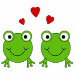 Two green frogs with red hearts. photo cut outs