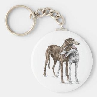 Two Greyhound Friends Dog Art Key Ring