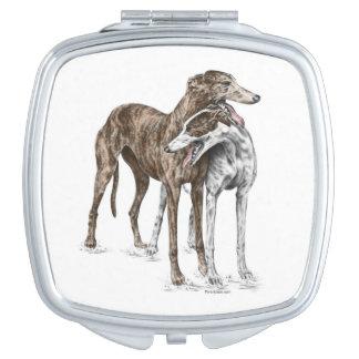 Two Greyhound Friends Dog Art Vanity Mirror