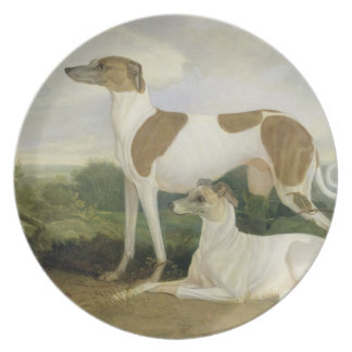 Two Greyhounds in a Landscape (oil on canvas) Dinner Plates