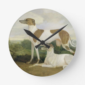 Two Greyhounds in a Landscape (oil on canvas) Round Clock