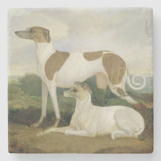 Two Greyhounds in a Landscape (oil on canvas) Stone Coaster