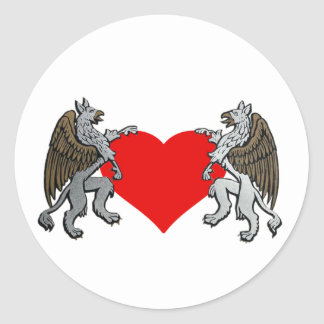 Two Griffins And A Heart Round Stickers