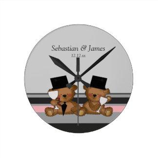 Two Groom Teddy Bears Round Clock