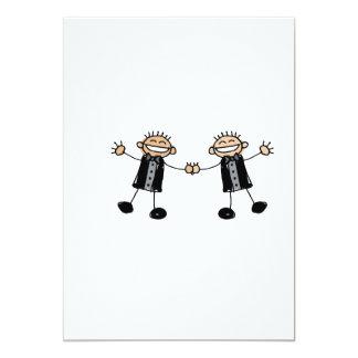 Two Grooms Dancing Happy 13 Cm X 18 Cm Invitation Card