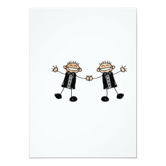 Two Grooms Dancing Happy 5x7 Paper Invitation Card