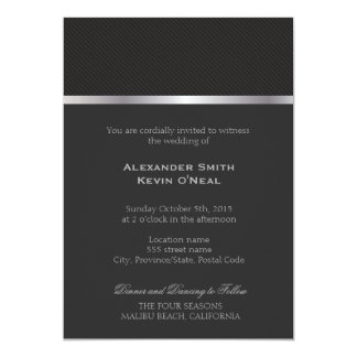 Two Grooms-Gay grey lines Wedding ı Invitation