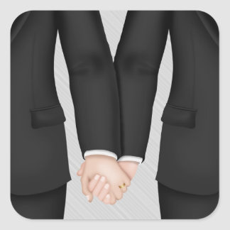 Two Grooms, Gay Wedding Square Sticker