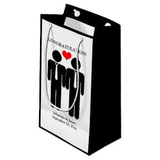 Two Grooms In Ties Wedding Customizable Small Gift Bag
