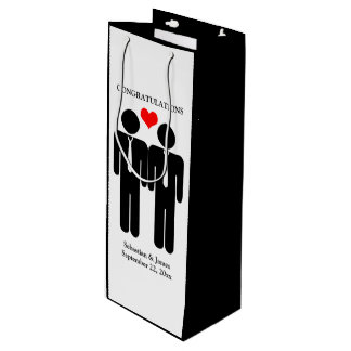Two Grooms In Ties Wedding Customizable Wine Gift Bag