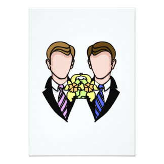 "Two Grooms 5"" X 7"" Invitation Card"