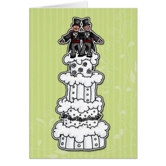 Two Grooms on Wedding Cake Card